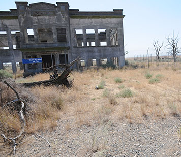 Burned-out shell of Hanford High School.