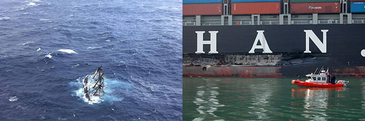 Left, sailing ship sinking. Right, Coast Guard vessel approaches gash in side of large ship.