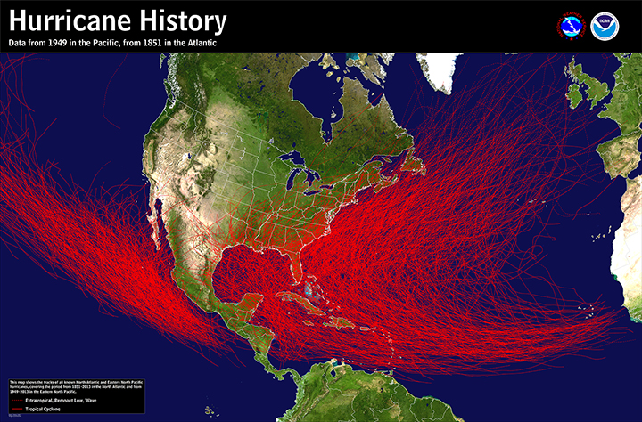 Map of North America with historical tracks of hurricanes in North Atlantic and Northeast Pacific Oceans.