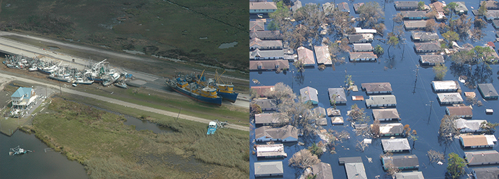 Left: Boats scattered in a marsh and onshore next to damaged buildings. Right: Houses, trees, and powerlines in a New Orleans neighborhood flooded by Hurricane Katrina.