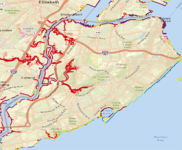 The map shows sensitive habitats and species that are typically present in the Staten Island area in November and December, the months following Hurricane Sandy.