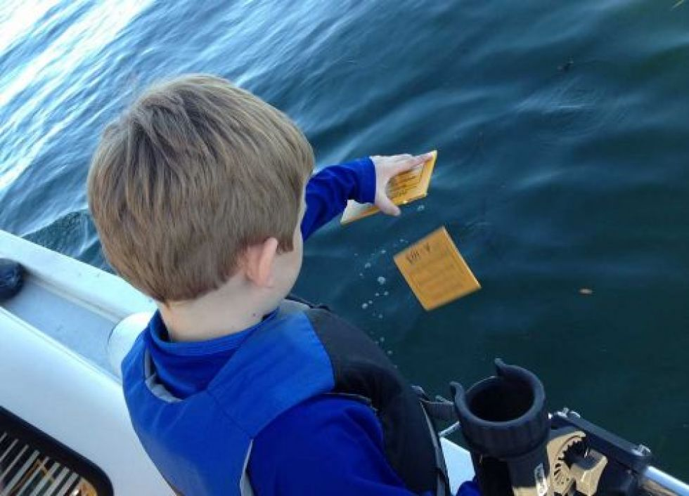 A young boy drops wooden yellow cards off the side of a boat into water.