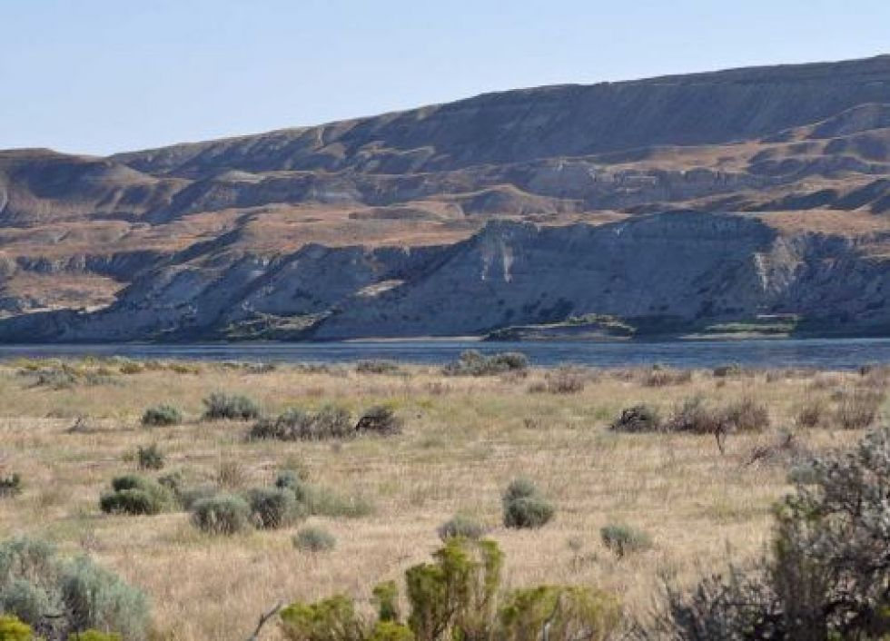 Shrub-covered plains next to a river and bluffs beyond.