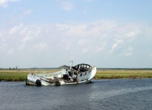 Derelict boat in a Gulf marsh.