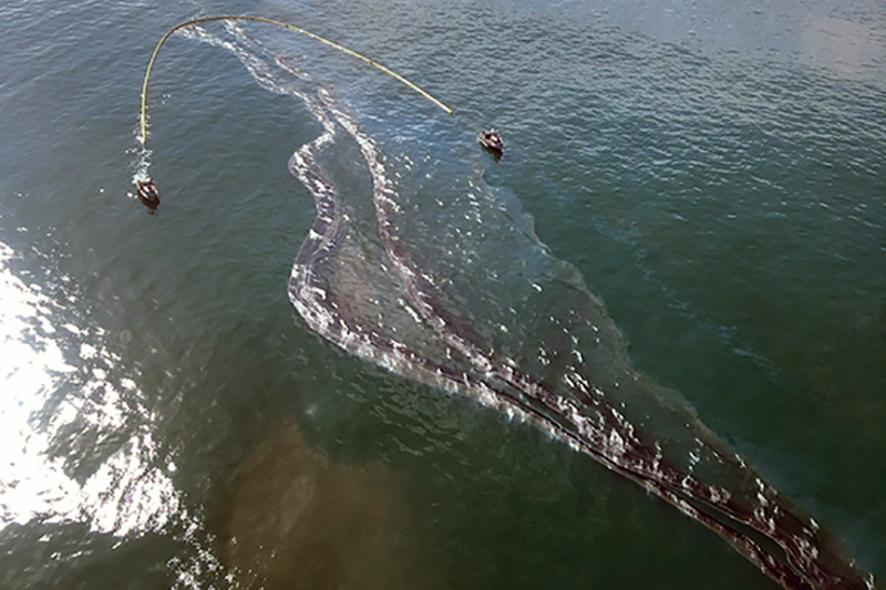 Aerial view of oil on water.