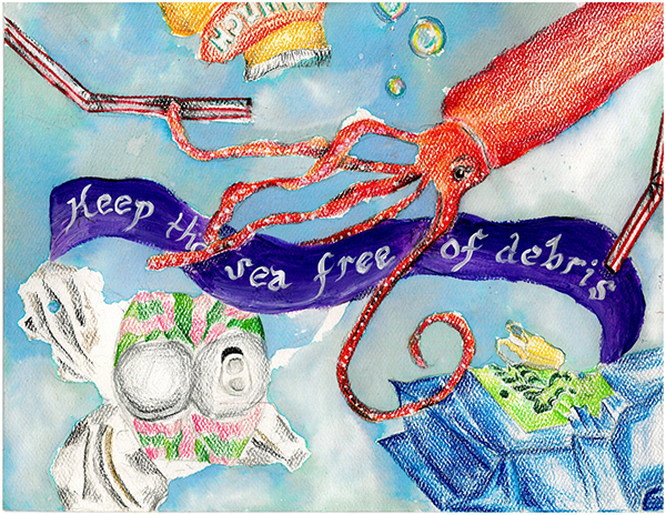 """Colored-pencil drawing of a squid in a debris-filled ocean, with text reading """"Keep the sea free of debris."""