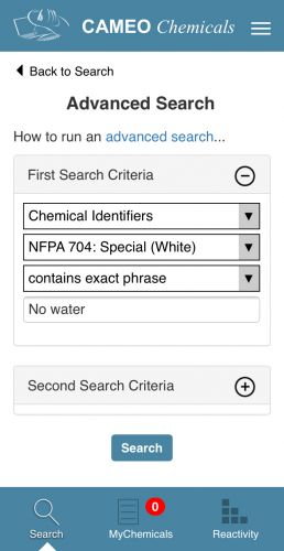Screenshot from the CAMEO Chemicals mobile app.