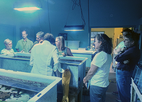 A group of people standing around a lab in discussion.