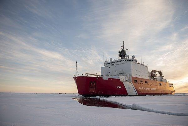 Large vessel in icy conditions.