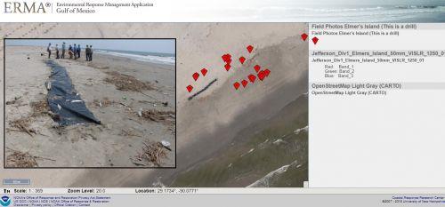Screen shot of ERMA map.