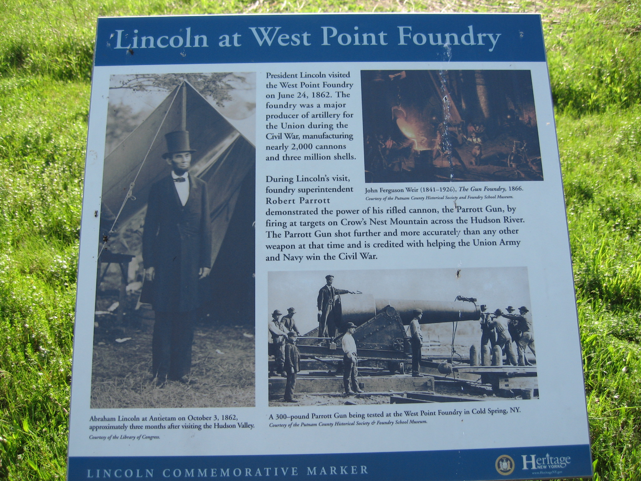A sign describing the historical site.