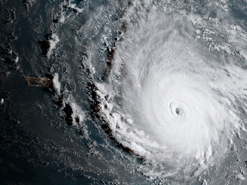 A satellite view of a hurricane.