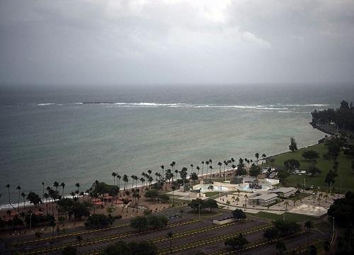 A stormy shoreline.