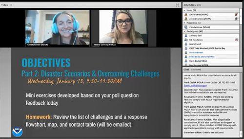 Screenshot of workshop slide, including two participants.