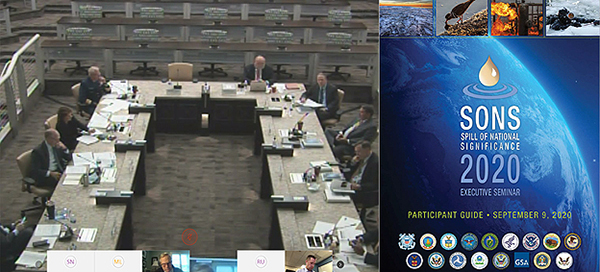 On the left, people sitting around a table; on the right, conference banner.