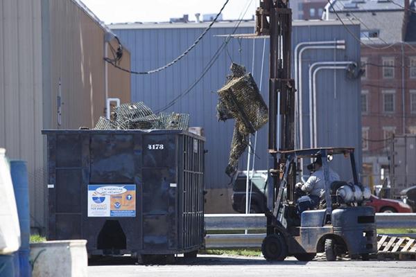 Large trash bin.