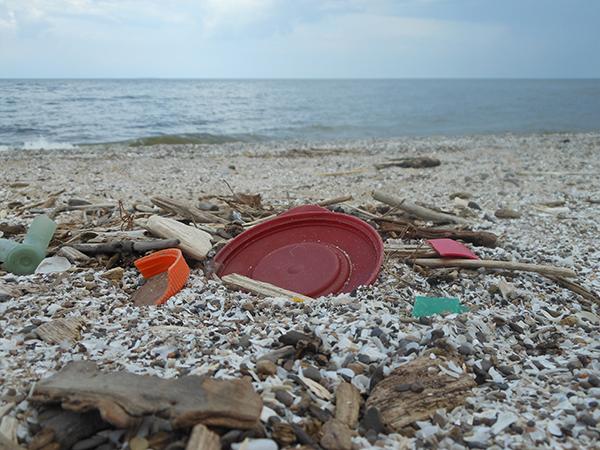 Trash on a beach.