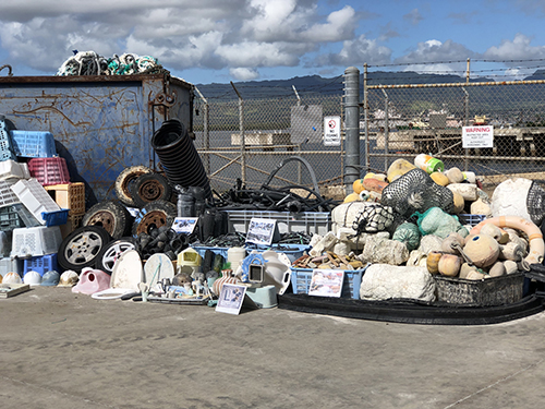 A range of marine debris samples on a dock.