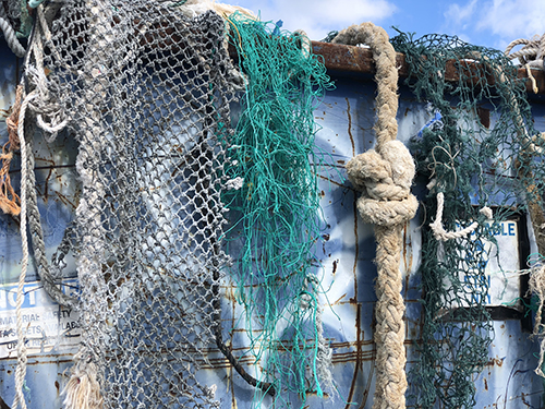 Variety of nets and ropes on display.