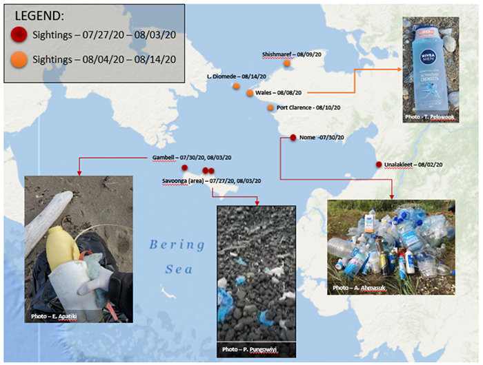 Map showing locations of new marine debris on the Alaska coast.