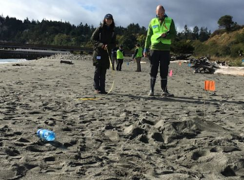 Two people posing on a beach with debris.