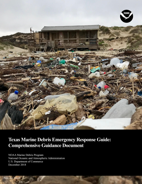 Book cover showing marine debris in front of a shack on a beach.