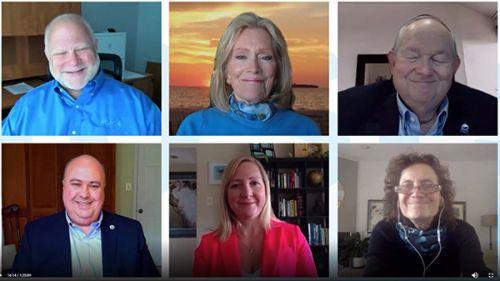 Screenshot of six virtual panel participants.