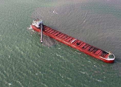 Aerial view of coal tanker in Lake Erie.