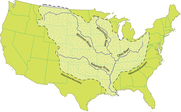 Map of the US highlighting the Mississippi River watershed.