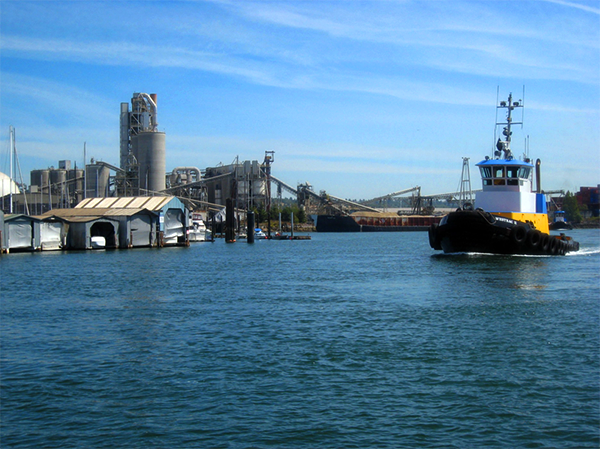 Tugboat on a river.