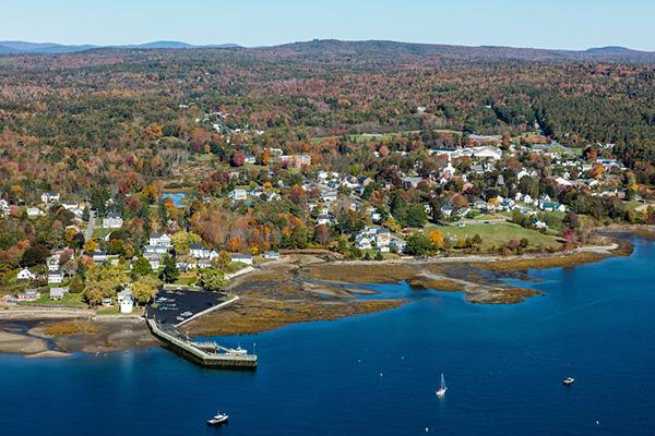 Aerial coastal scene.