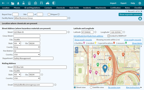 Screenshot of the CAMEO Data Manager tool.