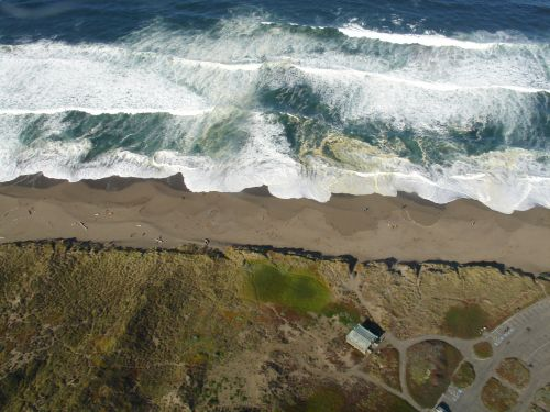 An aerial view of a shoreline