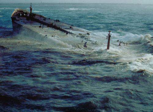 A sinking vessel.