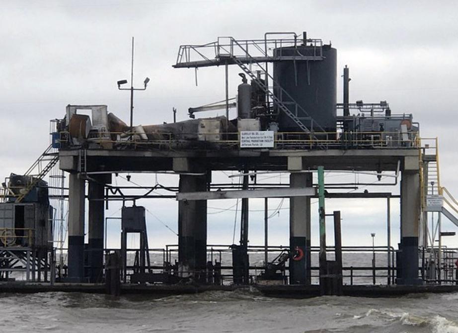 A damaged oil platform.