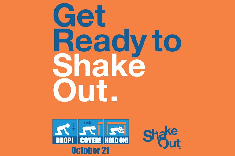 """A graphic reading """"Get Read to Shake Out."""""""