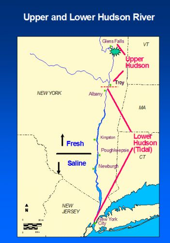 Map of upper and lower Hudson River showing fresh water and saline portions.