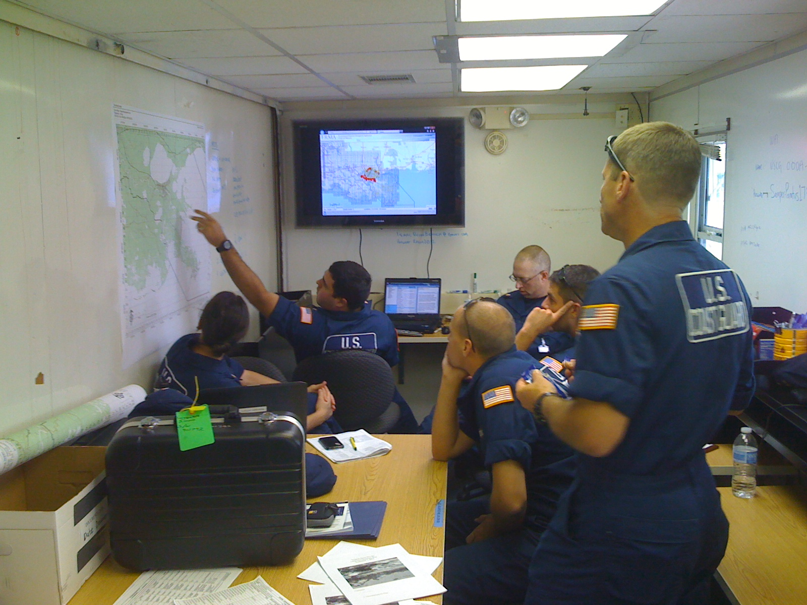 Image of U.S. Coast Guard using ERMA to plan field activities.