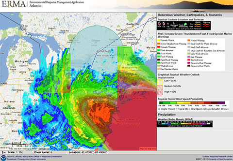 This ERMA screen shot shows Hurricane Sandy's approach over the East Coast on Oc