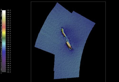 An image of the wreck on the ocean floor.