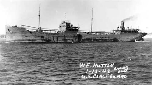 A black and white photo of the W.E. Hutton taken in 1942.