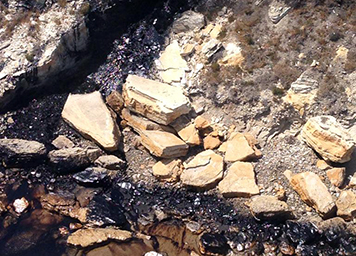 Spilled oil flowing by rocks.