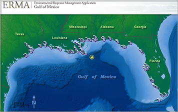 Screen shot of ERMA map with mussel sampling locations in Gulf of Mexico.
