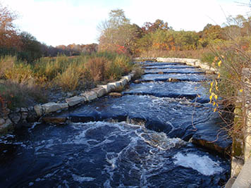View of completed fishway on the Sawmill Dam on the Acushnet River.