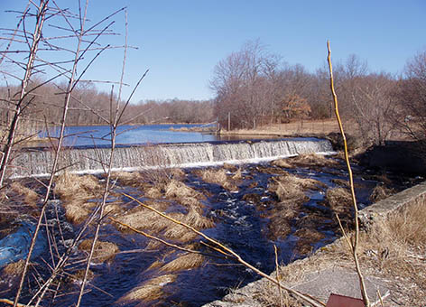 The Sawmill Dam before NOAA helped install fishways on the Acushnet River in MA.