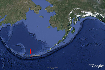 Location of Adak Island (red arrow) among Alaska's Aleutian Islands.