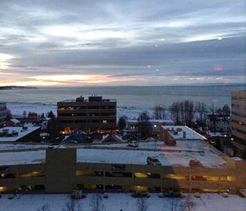 A view of Anchorage from the Alaska Marine Science Symposium.