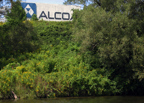 Alcoa aluminum factory with trees.