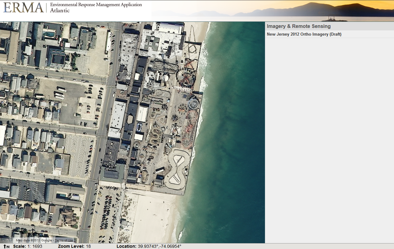 Aerial photos of Funtown Pier Amusement Park, N.J., before Hurricane Sandy hit.