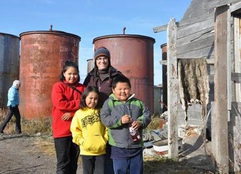 Amy Merten with children from Kivalina, Alaska.
